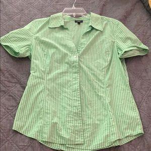 cute green striped shirt sleeve button down